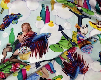 "Silk scarf ""bubbles"" with pin-up girls, bubbles, fish and candies, 120x120cm, 100% twill-silk fabric"