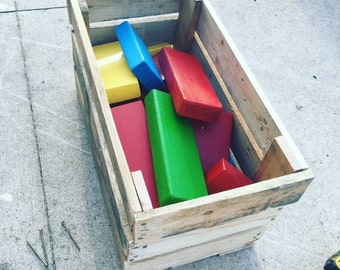 Jumbo wood blocks with hand made carrying crate