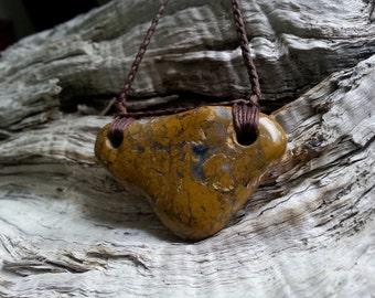 Agatised Yellow Jasper Beach Pebble Neckpiece