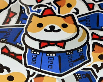 Bigger on the Inside Sticker - 10 cm Die Cut Sticker - Doctor Who Neko Atsume Sticker - Laptop Stickers - Phone Stickers - Cute Cats