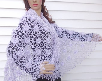 Bridal Shawl, Bridal bolero, Wedding bolero, shawl, shrug, Crochet Shawl, Winter Wedding cover ups,Lilac shawl,  Ask a Question