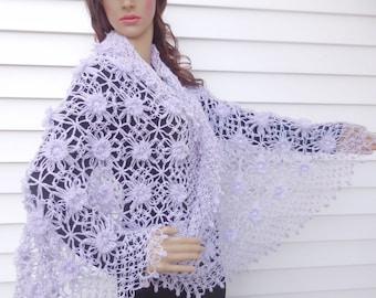 Bridal Shawl, Bridal bolero, Wedding bolero, shawl, shrug, Crochet Shawl, Winter Wedding cover ups,Lilac shawl,  Ask a Question