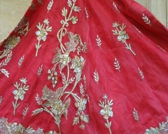 Vintage Silk Sari wrap skirt gypsy bohemian sequins beads one of a kind