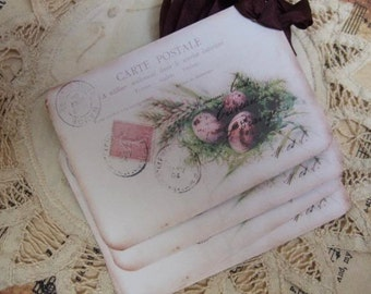Vintage Shabby French Cottage Nest Post Card Hang / Gift Tags