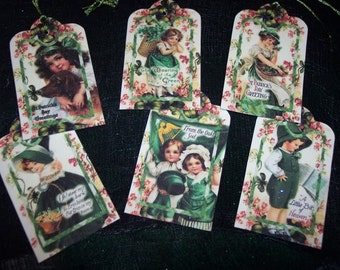 SIX Vintage St. Patrick's Day Hang Tags / Gift Tags Green Clover Blarney