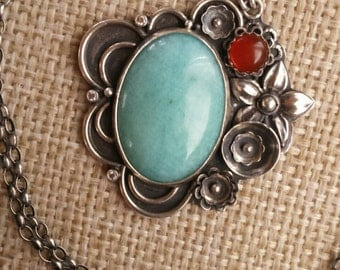 Amazonite, carnelian and Sterling Silver flower necklace.