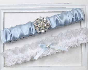 Blue Silk Wedding Garter Set, Bridal Garter, Wedding Garter, Blue Garter Set, White Garter, Garter Set, Rhinestone Garter, Blue Garter