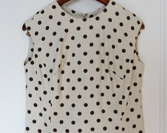 Pleated polka-dot dress with shell top