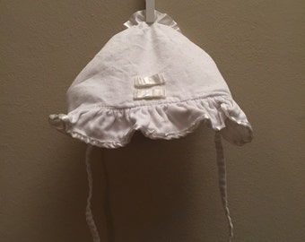 Newborn, Vintage Classic Baby Clothes, White Ruffled Bonnet with Bows