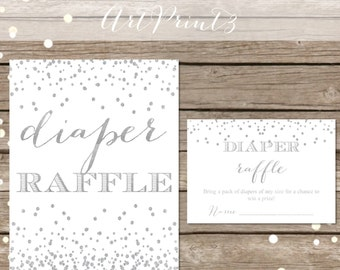 Diaper Raffle Printable Baby Shower Game, Baby Shower Diaper Raffle Card, White Silver Confetti Baby Shower, Instant Download Baby Shower