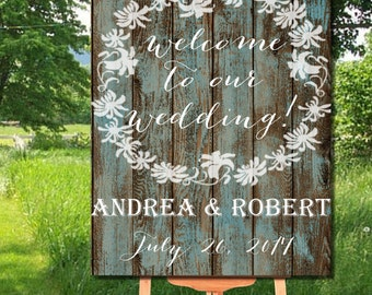 Rustic Wedding Printable Welcome Sign, Rustic Floral Welcome to our Wedding Sign Printable, Barn Wood Printable Welcome to wedding Sign