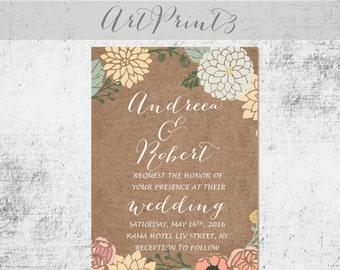 Rustic Wedding Invitation Printable, Tan Paper Wedding Invite Suite, Floral Wedding Invitation Printable, Country Wedding Invitation Set