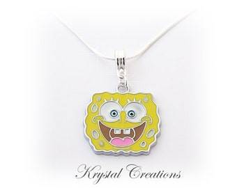 SPONGEBOB NECKLACE Cute little spongbob charm on a silver necklace for that special little girl