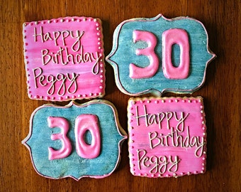 One Dozen - Happy Birthday Cookies - Pink and Grey Party Favors - 30th Birthday Girl Cookies - Decorated Cookies