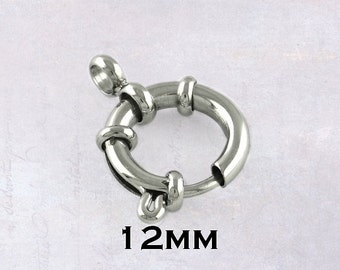 2 x Stainless Steel 12mm Bolt Spring Ring Clasps - Silver Tone
