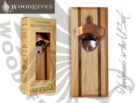 Bottle Opener Magnetic Cap Catcher Handcrafted Alder Wood
