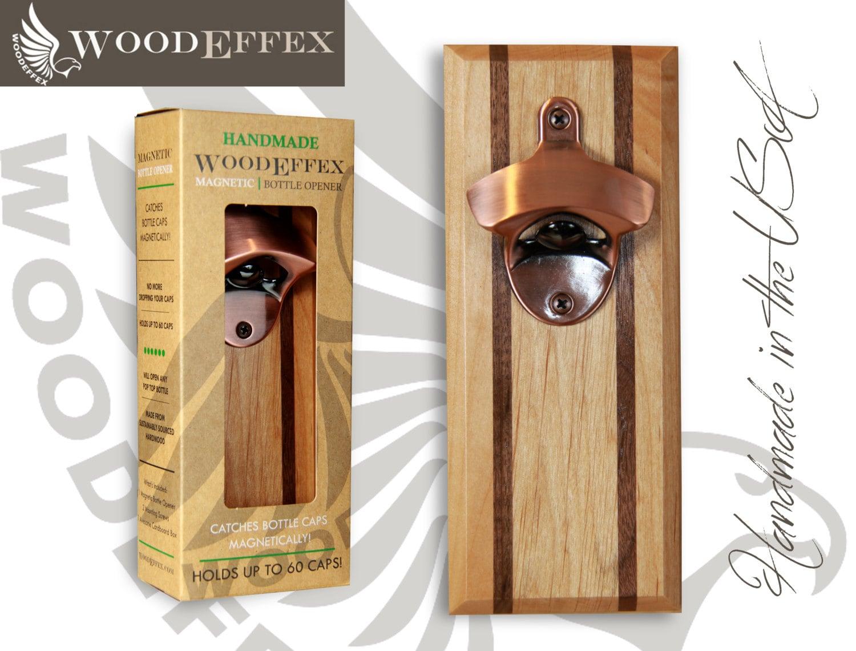 bottle opener magnetic cap catcher handcrafted alder wood. Black Bedroom Furniture Sets. Home Design Ideas