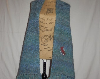 Windsor Blue Knit Shawl/Prayer Shawl