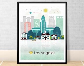 Los Angeles print Poster Wall art Los Angeles California skyline CA City poster printable download Home Decor Digital Print GreenGreenDreams