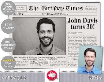 Newspaper style birthday invitation card printable newspaper invitation the birthday times invite newspaper front cover birthday invitation by printadorable pronofoot35fo Choice Image