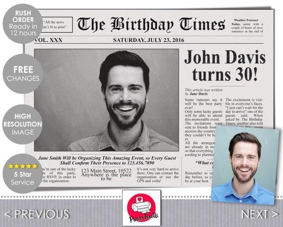 Newspaper Invitation - The Birthday Times Invite - Newspaper Front Cover Birthday Invitation by Printadorable