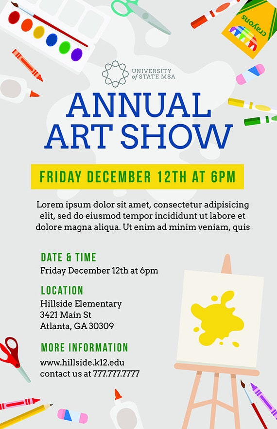 Diy printable school art show flyer template word flyer for Free craft show listings