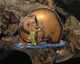 Vintage Enamel Fishing Bear Pin