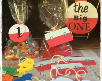 "Fishing theme birthday party treat bags and tags , "" The big ONE "" theme , 12ct"