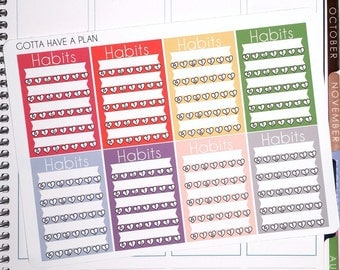 Planner Stickers Routine and Habit Sidebar Tracker for Erin Condren, Happy Planner, Filofax, Scrapbooking