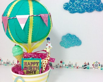 hot air balloon - Hot air balloon birthday party - surprise ball - hot air balloon gifts- balloon party favors - birthday centerpieces- baby