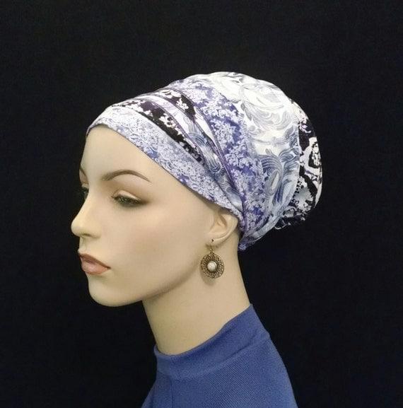 Pretty blue/purple and lace cotton sinar tichel