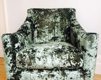 Luxurious velvet sage green armchair