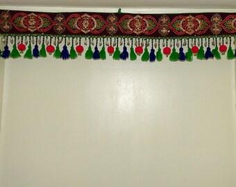 Handmade window door Valance/ Toran/door hanging decoration/Pompom and tassels Indian Toran
