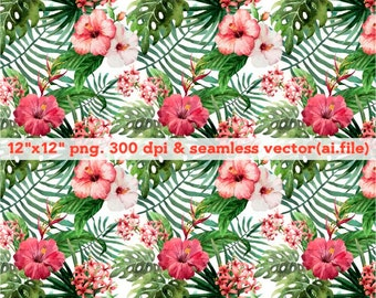 Hand painted tropical flowers Clipart, Digital Download ,Quotes Scrapbooking, Supplies, Vectors files ,Personal Use