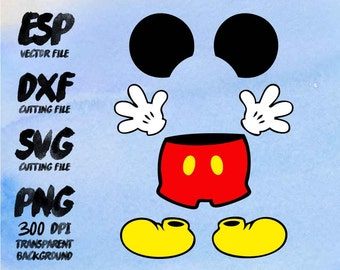 Mickey Mouse body parts Clipart , SVG Cutting , ESP Vectors files , T shirt , iron on , sticker ,Personal Use