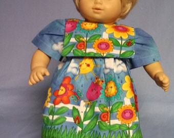 Sunny flower cotton dress for Bitty Baby / Bitty Twin Size Doll.   B312