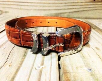 VINTAGE: BRIGHTON Brown CROCODILE Belt.{D3-125#00393}