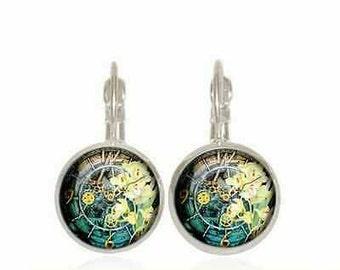 FREE SHIPPING! 8mm, art, art earrings, unique earrings, unique jewelry, colorful earrings, colorful jewelry, hippie, gift, present, girl