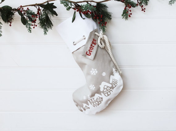 Personalised Christmas Stocking in stone with Christmas Village
