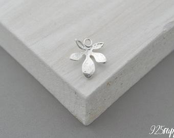 925 Sterling Silver leaf, leaf pendant, leaf charms, leaf, twig silver, twig, sprig silver, sprig pendant, sprig charms