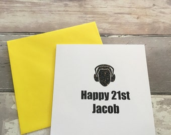 Birthday card- 21st card- dj card- funny card - custom card- personalised card- music card- age card- number card - dj- dance music