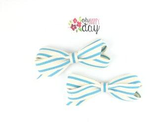blue striped pigtail bows, blue hair bows, blue pigtail bows, toddler hair bows, baby hair bows, girls hair bows, toddler pigtail bows