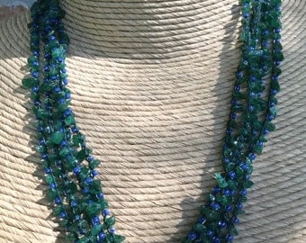 Very long Aventurine chip and blue glass seed bead crocheted necklace