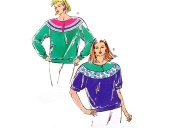 Kwik Sew 2053 Misses' Raglan Sleeve Top with Contrast Yoke and Front Button Closure Uncut, Factory Folded Sewing Pattern Size XS-XL