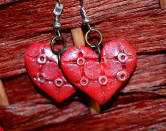 Pin Cushion Red Valentine Heart Earrings