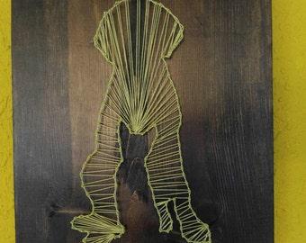 Cat nestled in dog, string art