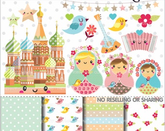 80%OFF - Russian Dolls Clipart, Matrioska Clipart, COMMERCIAL USE, Matrioshka, Planner Accessories, Babushka Graphics, Nesting Dolls