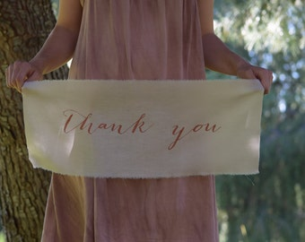 Wedding Thank You Signs, Photographer Props, Hand-Painted Calligraphy Banner, Wedding Calligraphy, Wall Hanging, Calligraphy On Fabric