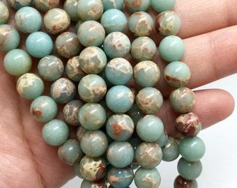 8mm Snake Skin Jasper Gemstone Beads - Aqua Terra Jasper - 15.5 inch Full strand - Round Gemstone Beads - Gemstone Beads
