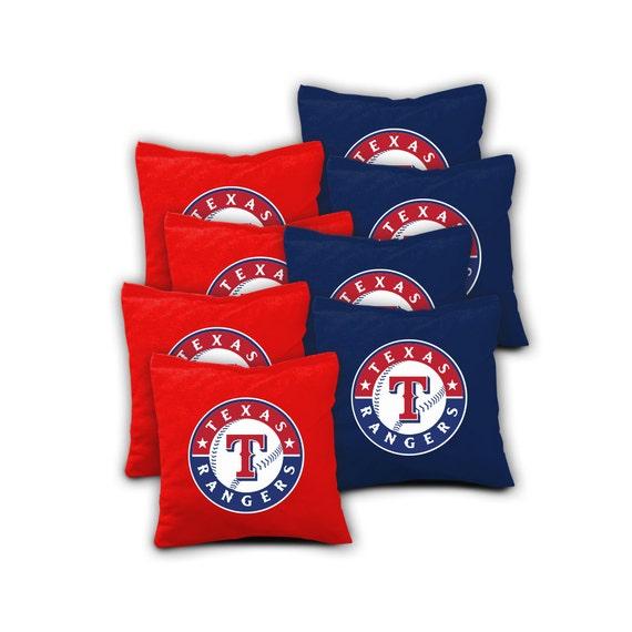 Texas Rangers Set Of 8 Aca Regulation Cornhole Bags Bean Bag